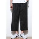 Guys Hot Fashion Classic Vertical Stripe Printed Drawstring Waist Loose Fit Cotton Cropped Wide Leg Pants