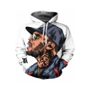 New Popular American Rapper Portrait Print Pullover Casual Loose White Hoodie