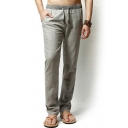 Retro Chinese Style Men's Contrast Drawstring Waist Linen Relaxed Fit Pants