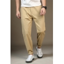 Summer Hot Fashion Simple Basic Plain Relaxed Fit Cotton Tapered Trousers for Men