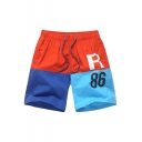 Mens New Stylish Letter Tree Color Block Drawstring Waist Cool Print Surfing Swim Trunks
