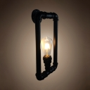 Black Square Pipe Wall Lamp Single Light Vintage Metal Sconce Light for Dining Room