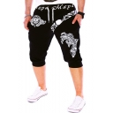Retro Letter Badge Printed Drawstring-Waist Mens Summer Casual Sport Sweat Shorts