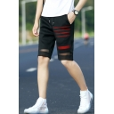 Summer Mens Fashion Striped Mesh Panel Drawstring Waist Black Straight Fit Beach Shorts