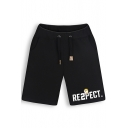 Funny Dog Letter Printed Drawstring Waist Cotton Athletic Sweat Shorts for Men
