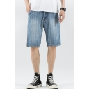 Mens Vintage Distressed Bleach Washed Light Blue Straight Fit Loose Denim Shorts