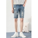Guys New Trendy Ripped Detail Raw Hem Classic Fit Casual Denim Shorts