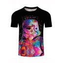 Cool Robot Soldier Painting Short Sleeve Round Neck Black T-Shirt