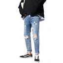 Guys New Stylish Cool Knee Cut Regular Fit Blue Ripped Jeans