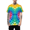 New Trendy Ombre Colorful Tie-Dye Round Neck Relaxed Fit Unisex Casual T-Shirt
