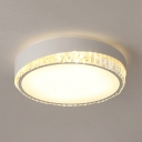 Modern LED Flush Light with Drum and Clear Crystal Acrylic Ceiling Light Fixture in White/Warm