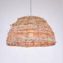 Rattan Domed Pendant Lighting Single Light Asian Handmade Hanging Lamp in Beige