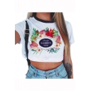 Popular Floral Letter GARDEN Printed Short Sleeve White Cropped T-Shirt