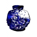 Fashion 3D Leaf Bird Printed Long Sleeve Blue and White Loose Fit Hoodie