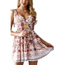 Ethnic Style Floral Printed V-Neck Tied Straps Beige Mini A-Line Dress