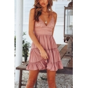 Holiday Plain V-Neck Sleeveless Ruffle Hem Lace Mini Slip A-Line Dress