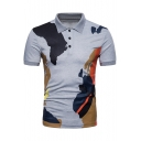 Men's New Trendy Camo Printed Short Sleeve Three-Button Slim Fit Polo Shirt