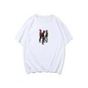 New Trendy Figure Printed Round Neck Short Sleeve Mens Cotton T-Shirt
