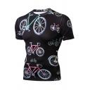 Mens Trendy 3D Bicycle Pattern Round Neck Short Sleeve Slim Sport Black Unisex T-Shirt