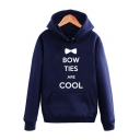 Stylish Bow Letter BOW TIES ARE COOL Printed Long Sleeve Unisex Casual Pullover Hoodie