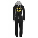 New Stylish Comic Cartoon Mouth Printed Long Sleeve Drawstring Hooded Zip Front Black Jumpsuits