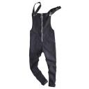 Men's Unique Zip Up Solid Color Black Slim Fit Bib Overalls