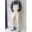 Mens New Fashion Simple Solid Color Rolled Cuff Wide-Leg Loose Fit Bib Overalls