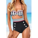 Sexy Polka Dot Striped Printed Halter Top High Waist Bottom Swimwear