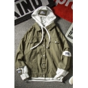 Mens New Trendy Patched Hooded Flap Pocket Front Loose Casual Workwear Jacket