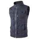 Fashion Mens Stand-Collar Button Embellished Zip Closure Sleeveless Fitted Sweatshirt Vest