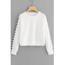 Popular Plaid Printed Long Sleeve Loose Casual Cropped Sweatshirt