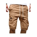 New Stylish Plain Drawstring Waist Multiple Pockets Leisure Cargo Shorts for Men