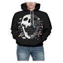 Cool 3D Skull Pattern Mens Sport Loose Long Sleeve Black Hoodie