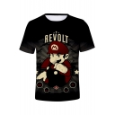 New Stylish Letter REVOLT Print Round Neck Short Sleeve Black Breathable Comfort Tee
