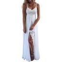 Summer New Stylish Solid Color V-Neck Split Front Maxi White Slip Dress