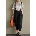 Women's Cool Low Crotch Plain Leisure Cotton and Linen Overall Pants