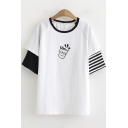 Basic Round Neck Stripe Short Sleeve Cartoon Cup Print T-Shirt