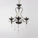 Adjustable Black Candle Chandelier with Clear Crystal Decoration 3 Lights Classic Light Fixture for Dining Room