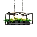 Dining Room Rectangle Hanging Island Lights Metal Industrial Black Pendant Lights with 23.5