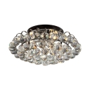 Living Room Ceiling Lighting Clear Crystal Ball Vintage Style Semi Flush Mount Light, 8.5