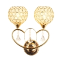 2 Lights Ball Shade Sconce Lighting Vintage Style Clear Crystal Wall Mounted Light Fixture