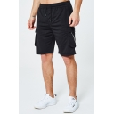 Summer Guys Simple Plain Drawstring Waist Flap Pocket Side Sport Cotton Shorts Cargo Shorts