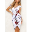 Women's Retro Floral Printed Cold Shoulder Mini Slip Bodycon Dress