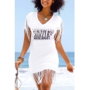 Summer Fashion Letter Printed Tassels White Beach Mini T-Shirt Dress
