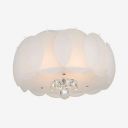 White Glass Drum Flush Mount 3/4/5 Lights Modern Style Ceiling Light Fixture with Clear Crystal for Living Room