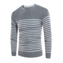Classic Fashion Stripe Printed Mens Crew Neck Slim Fit Pullover Jumper Sweater