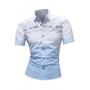 Men's New Trendy Letter Printed Ombre Color Short Sleeve Casual Fitted Button-Up Shirt