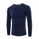 Men's Trendy Contrast Trim Long Sleeve Basic Slim V-Neck Sweater