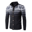 Men's Retro Tribal Printed Stand-Collar Long Sleeve Button Down Cardigan