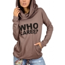 Women's Fashion Letter WHO CARES Printed Cowl Neck Long Sleeve Drawstring Hem T-Shirt with Pockets